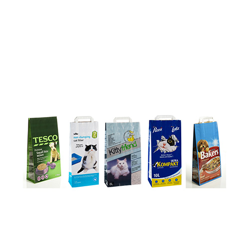 Block Bottom SOS Paper Bags for Pet food and Catlitter